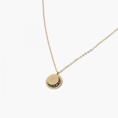 Collier médaille lune noire steel Power