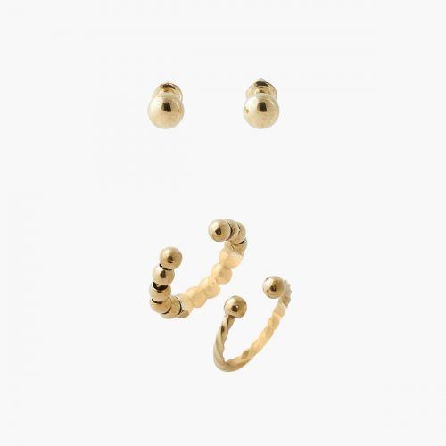 Set de bijoux d'oreilles doré steel Power