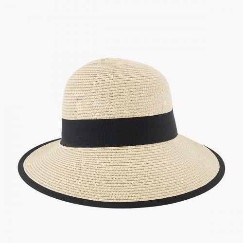 Chapeau visière beige à ruban