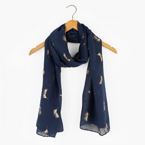 Foulard bleu imprimé plumes dorées