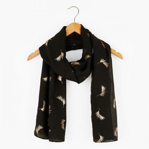 Foulard noir imprimé plumes dorées