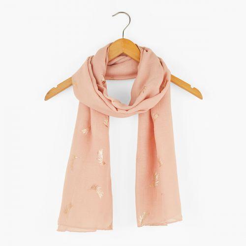 Foulard rose imprimé plumes dorées