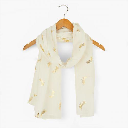 Foulard blanc imprimé plumes dorées