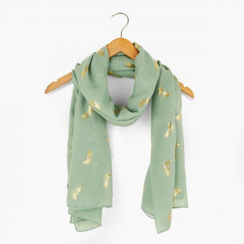 Foulard vert imprimé plumes dorées