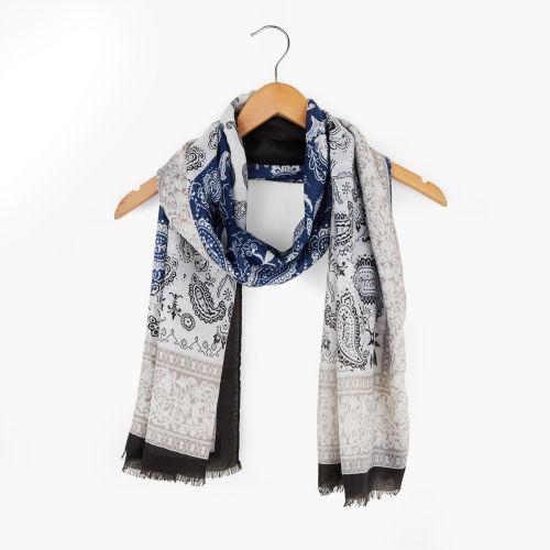 Foulard bleu imprimé bandana