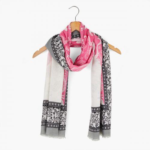 Foulard rose imprimé bandana