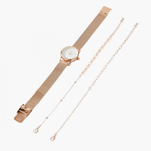 Coffret montre/bracelets rose gold