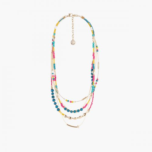 Collier Multirangs perles multicolores Graphic nomade