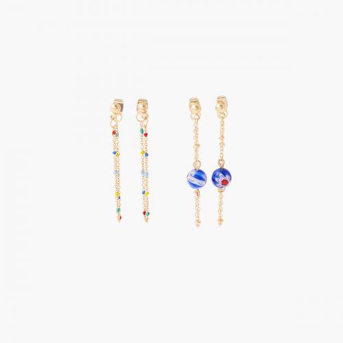 Set de boucles d'oreilles pendantes doré Gaudi