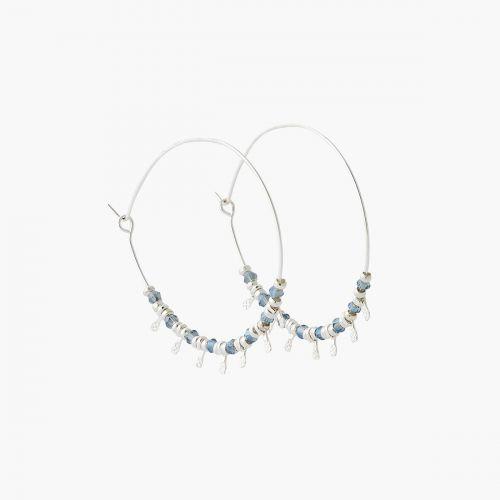 Créoles argentées à perles City Blue