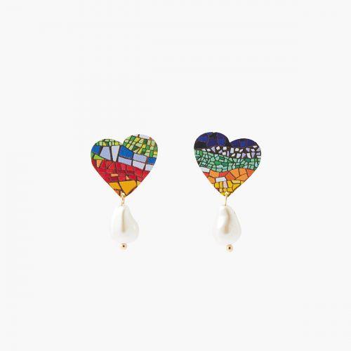 Boucles d'oreilles coeur et perle d'imitation Gaudi