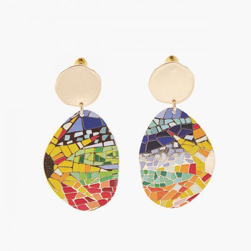Boucles d'oreilles imprimées mosaïque Gaudi