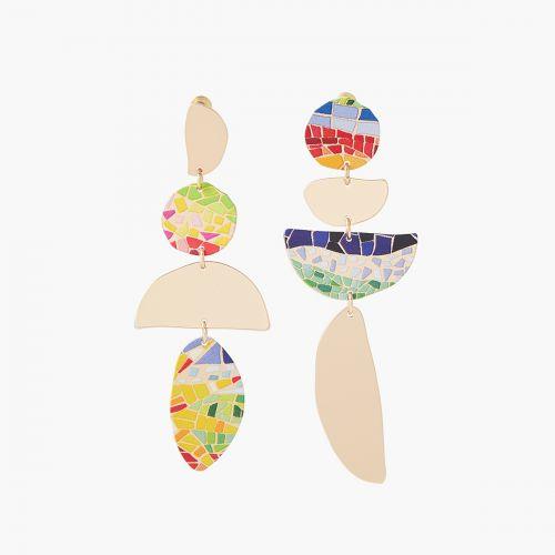 Boucles d'oreilles asymétriques fantaisie Gaudi