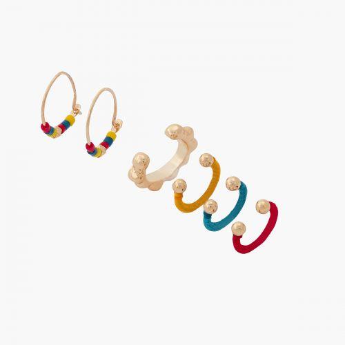 Set de bijoux d'oreilles/créoles multicolore Graphic nomade