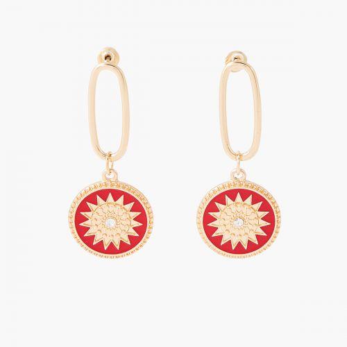 Boucles d'oreilles pendantes dorées Désert Rouge