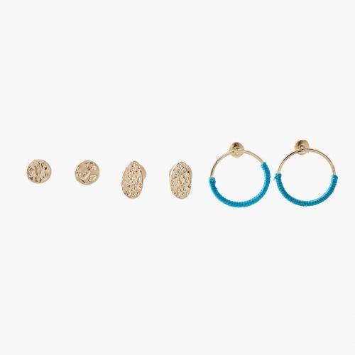 Set de boucles d'oreilles pendantes doré Graphic nomade