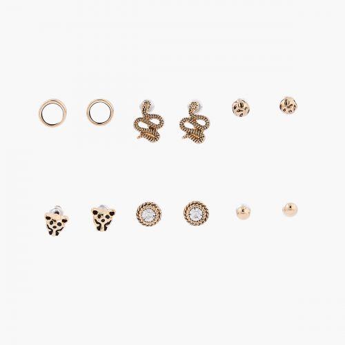 Set de boucles d'oreilles pendantes doré Désert Rouge