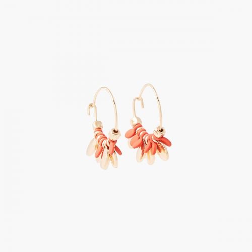 Boucles d'oreilles médailles orange/dorées Sunset bloom