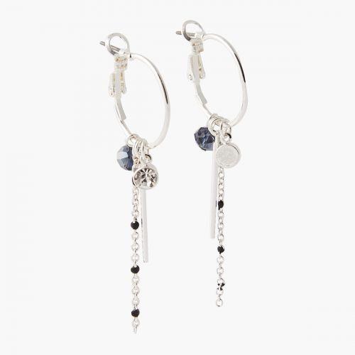 Boucles d'oreilles pendantes argentées City Blue