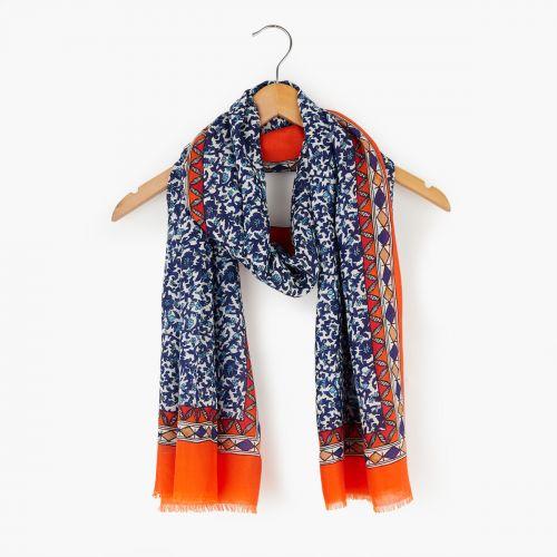 Foulard à fleurs bleues/oranges