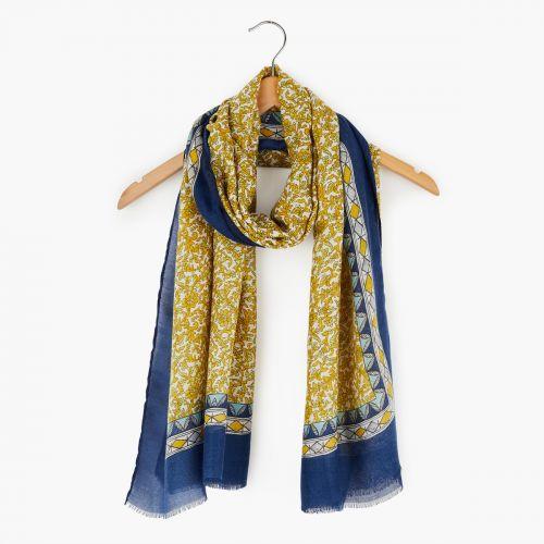 Foulard à fleurs jaunes/bleues