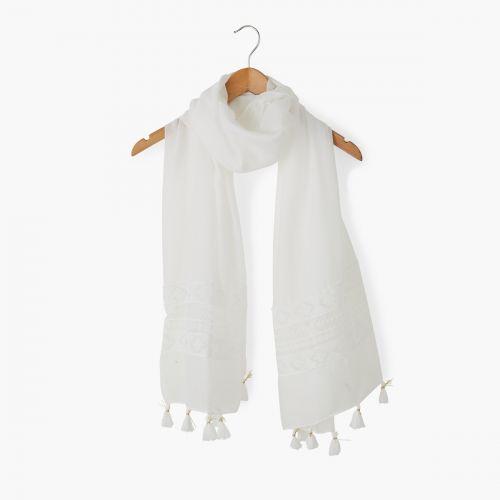 Foulard blanc à dentelle