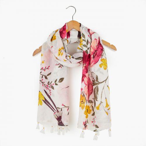 Foulard fleurs et pompons