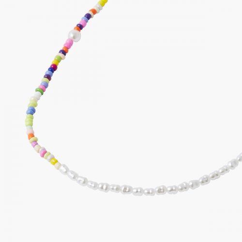 Collier fermoir à perles d'imitation et multicolores