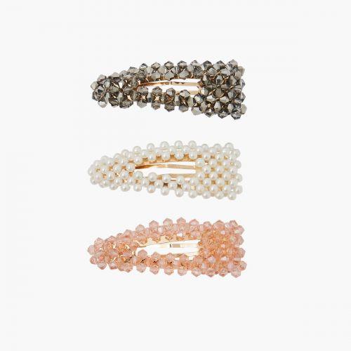 Set de barrettes perles translucides