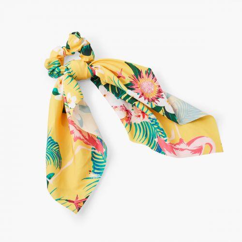 Chouchou foulard jaune à fleurs