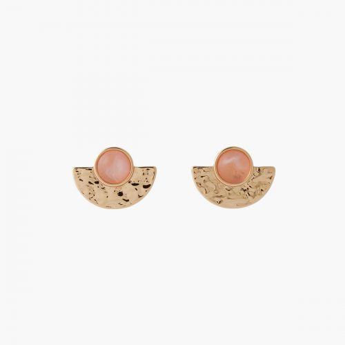 Boucles d'oreilles demi-lune rose Coral shell