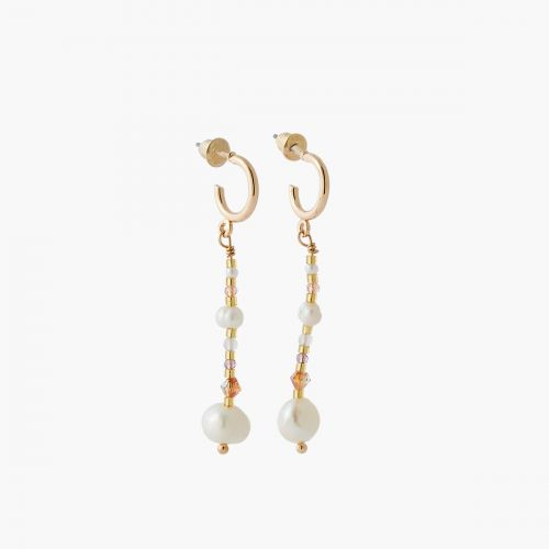 Boucles d'oreilles perles blanches Coral shell