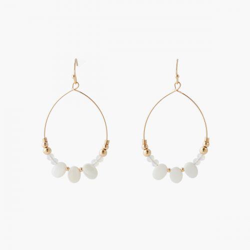 Boucles d'oreilles perles et nacres Coral shell