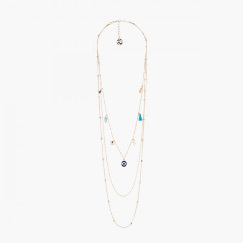 Collier Multirangs breloques Blue mood