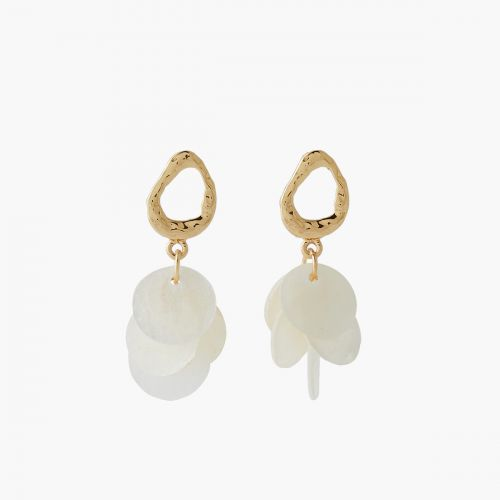 Boucles d'oreilles disques nacre Coral shell
