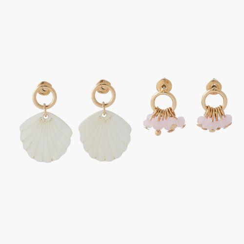 Set de boucles d'oreilles doré fantaisie Coral shell