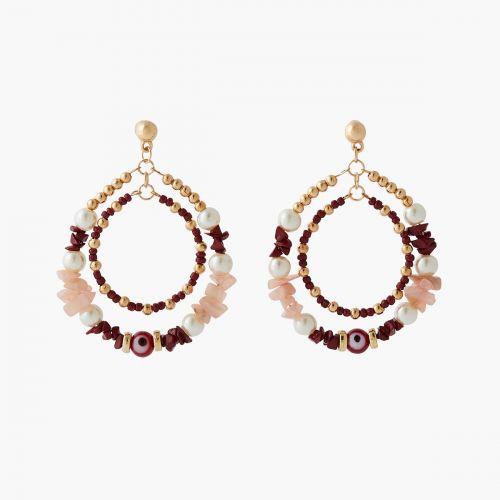Boucles d'oreilles 2 rangs perles fantaisie Coral shell