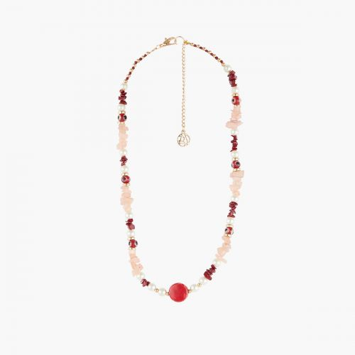 Collier perles fantaisie tons rouges Coral shell