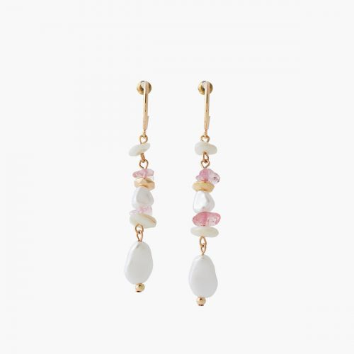 Boucles d'oreilles perles roses/blanches Coral shell