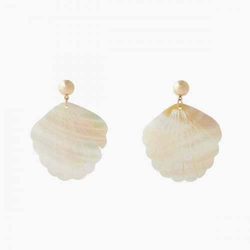 Boucles d'oreilles coquillage blanc Coral shell