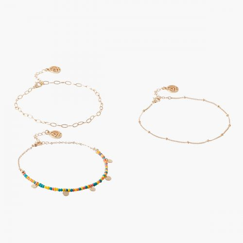 Set de 3 bracelets de cheville multicolore Goodies