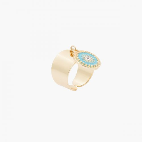 Grosse bague pampille bleue Blue mood
