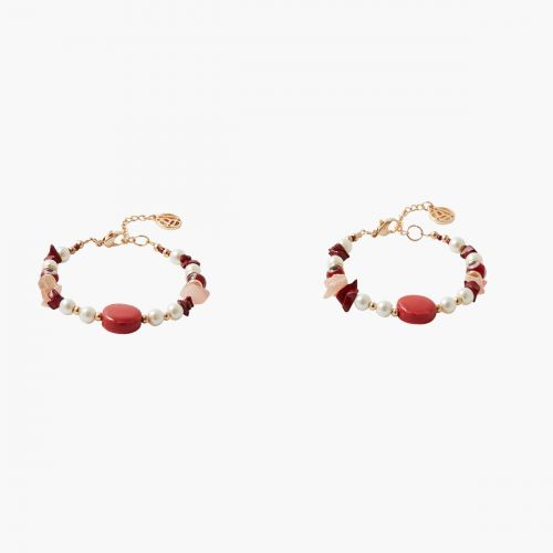 Set de bracelets perles tons rouges Coral shell