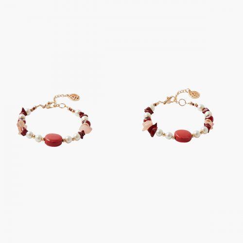 Set de bracelets perles tons rouges Coral shell