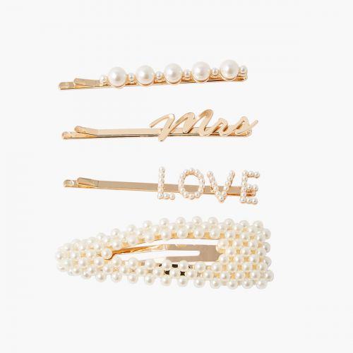 Set de barrettes doré et perles Collab Meryl
