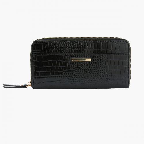 Portefeuille noir effet croco