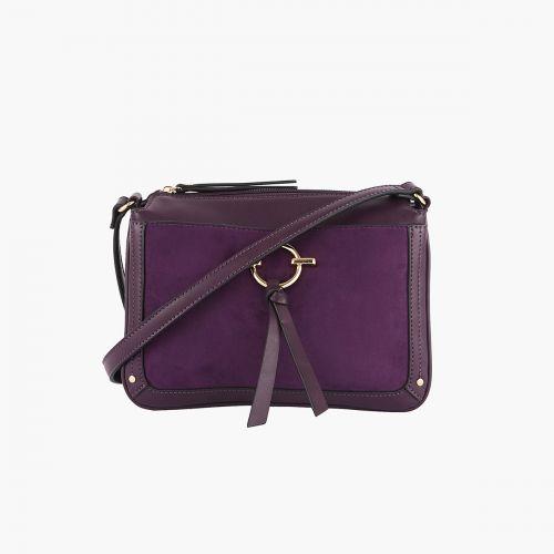 Sac bandoulière violet bi-matière