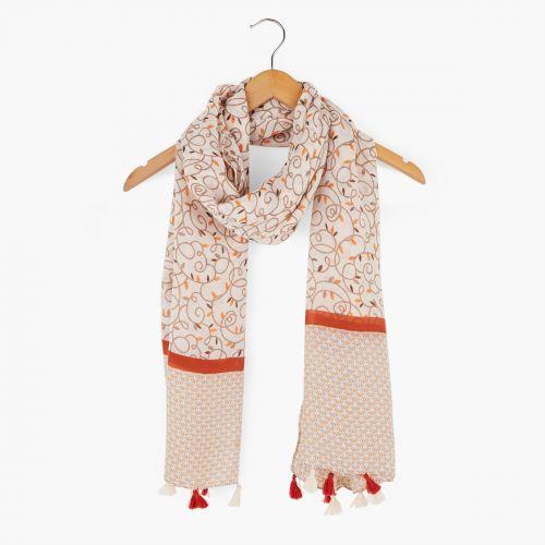Foulard arabesque gris/orange