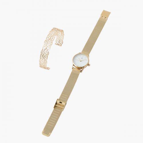 Coffret montre et bracelet doré