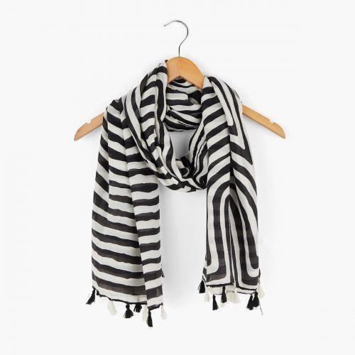 Foulard spirale noir/blanc